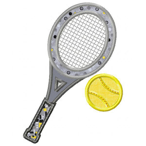 Tennis Racket and Ball Applique
