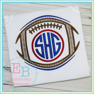 Sketch Monogram Football Embroidery Design, Embroidery