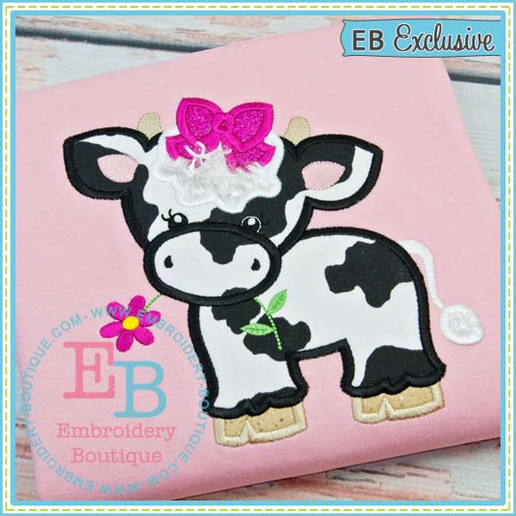 Cow with Bow Applique