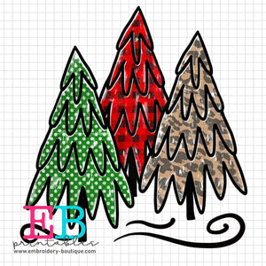 3 Trees Printable Design PNG
