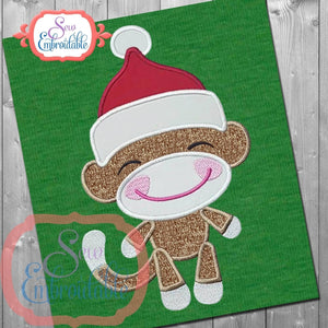 Sock Monkey Santa Boy Applique, Applique