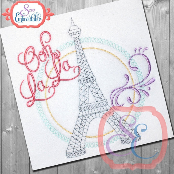Eiffel Tower Ooh La La Embroidery Design