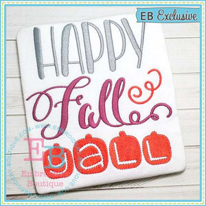 Happy Fall Embroidery Design, Embroidery
