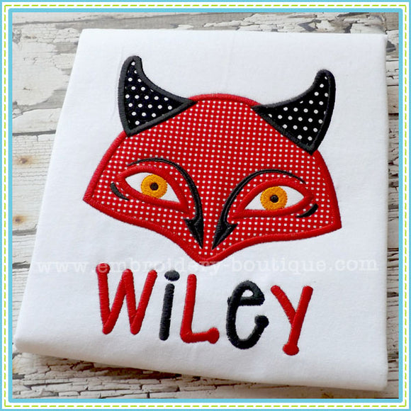 Devil Mask Applique - embroidery-boutique