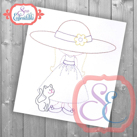 Sunbonnet Sue Kitty Embroidery Design - embroidery-boutique