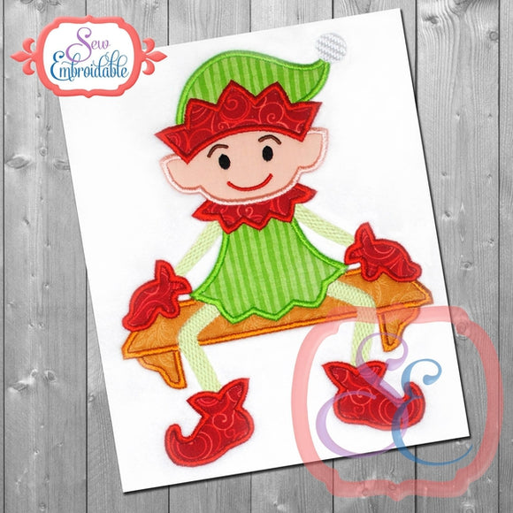 Sitting Elf Boy Applique - embroidery-boutique