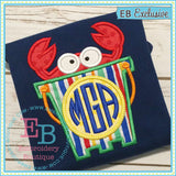 Crab Monogram Bucket Applique, Applique