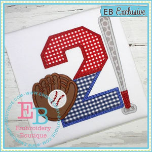 Baseball Bat Applique Numbers, Applique