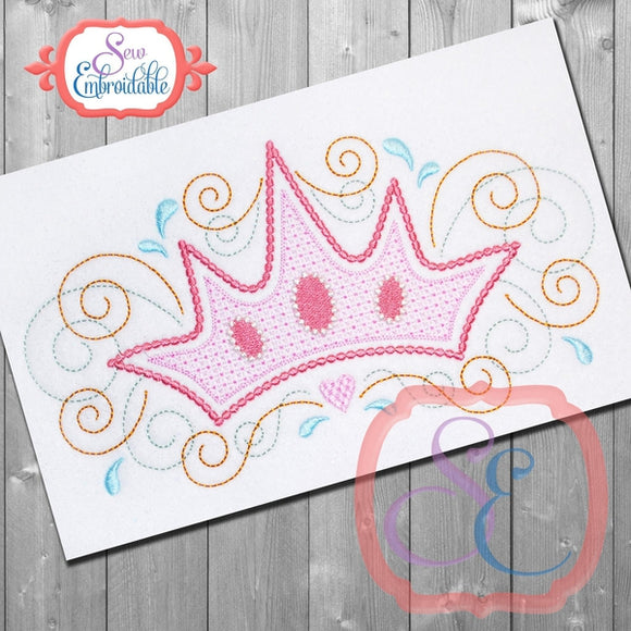 Crown Motif Embroidery Design, Embroidery