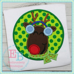 Rudolph Circle Applique