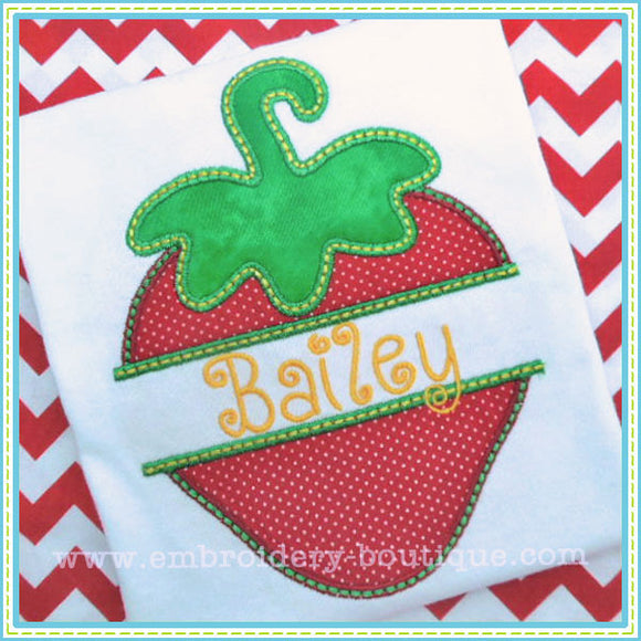 Split Strawberry Applique - embroidery-boutique