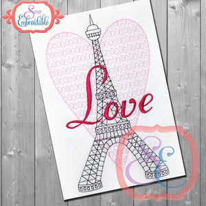 Eiffel Tower Love Embroidery Design
