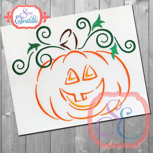 Jack-o-lantern Swirls Embroidery Design, Embroidery