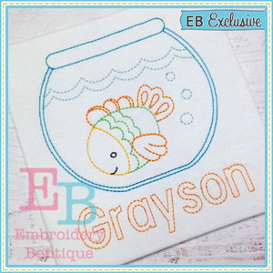 Vintage Fish Bowl Design, Embroidery