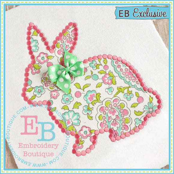 Dotted Bunny Outline Applique Embroidery Boutique