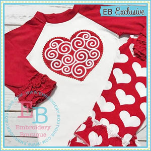 Dotted Swirly Heart Applique, Applique