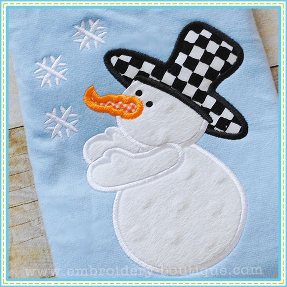 Frosty Flakes Snowman Applique