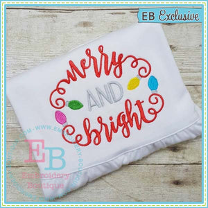 Merry and Bright Embroidery Design, Embroidery