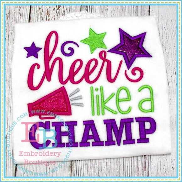 Cheer Like A Champ Applique - embroidery-boutique