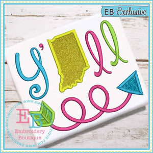 Y'all Indiana Applique - embroidery-boutique