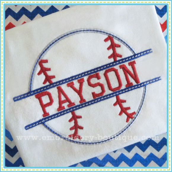 Split Baseball Applique, Applique