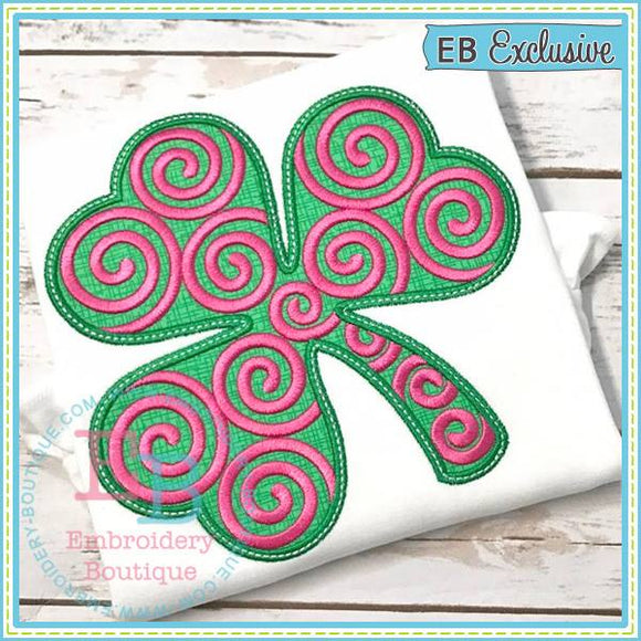 Swirly Shamrock Applique, Applique