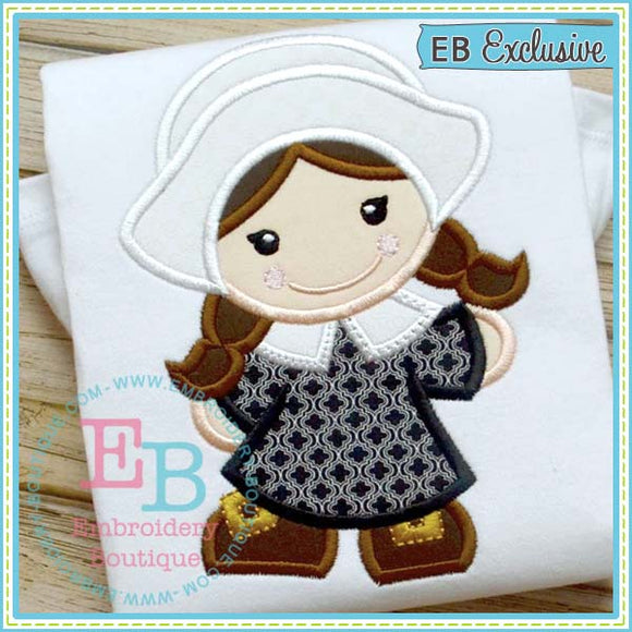 Pilgrim Girl Applique, Applique
