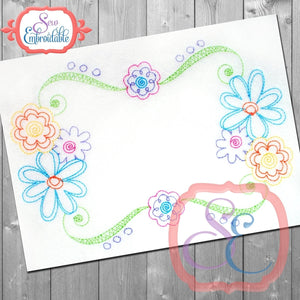 Scribble Floral Frame - embroidery-boutique