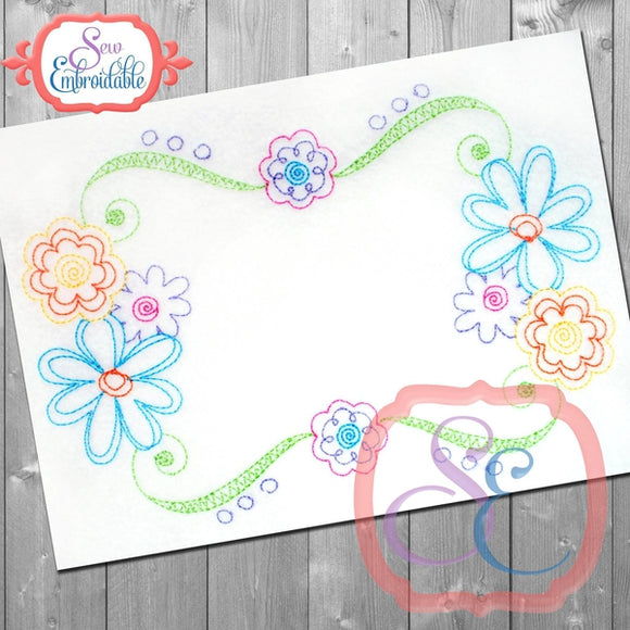 Scribble Floral Frame, Applique