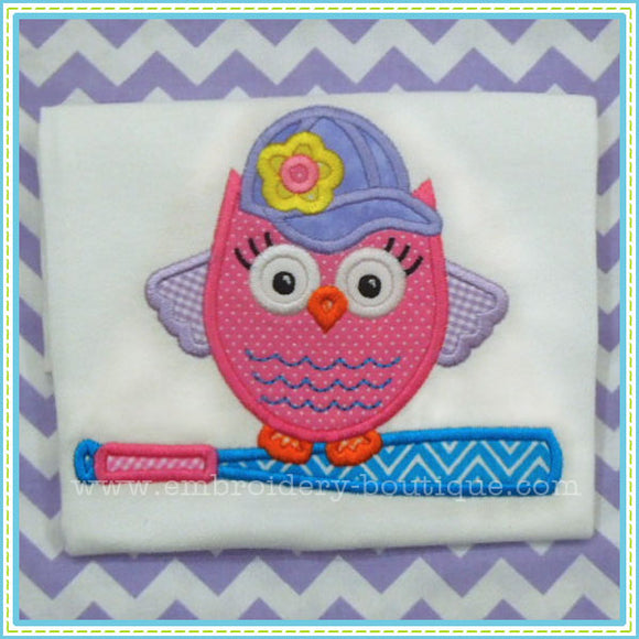Girl Softball Owl Applique Design, Applique