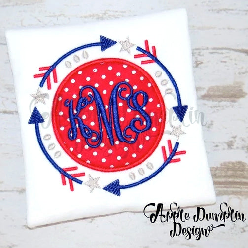 4th of July Star Arrow Frame Applique Design, applique