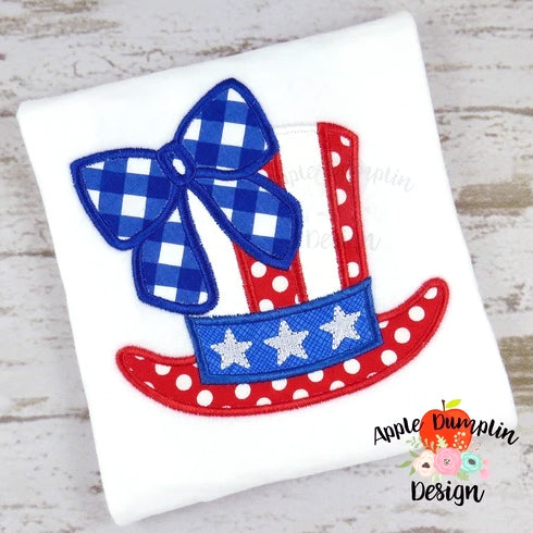 4th of July Hat with Bow, Applique Design, applique