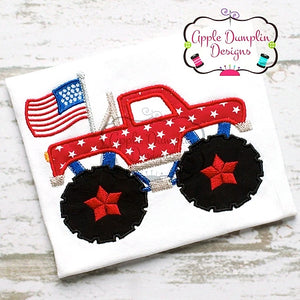 4th of July, Monster Truck with Flag Applique Design, applique