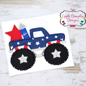 4th of July Monster Truck Applique Design, applique