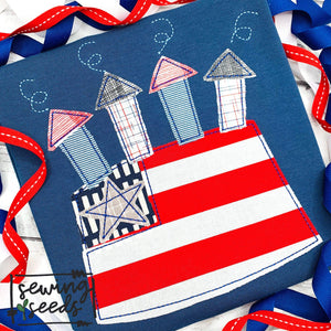 4th of July Flag Cake Applique SS
