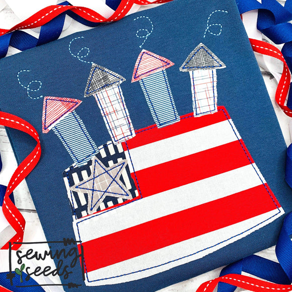 4th of July Flag Cake Applique SS-Embroidery Boutique