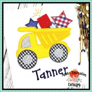 4th of July Dump Truck Zigzag Applique Design, applique