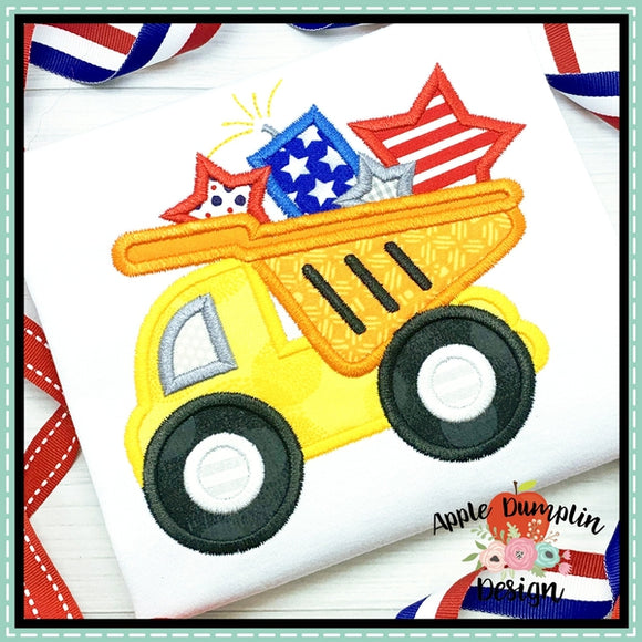 4th of July Dump Truck Applique Design, applique