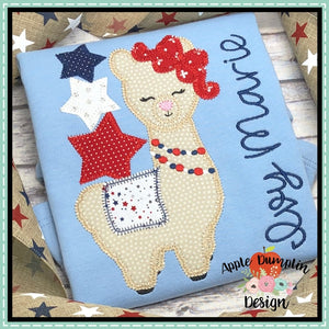Llama with Stars Zigzag Applique Design, applique