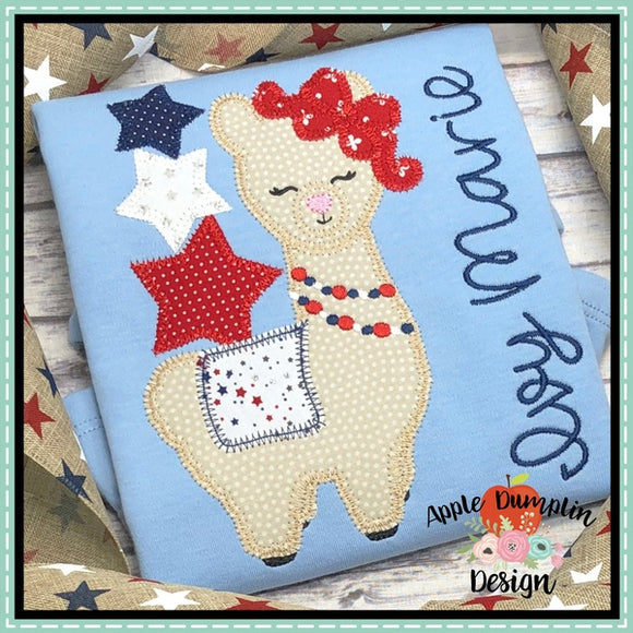 Llama with Stars Zigzag Applique Design