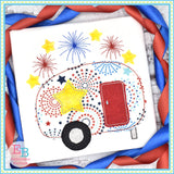 4th Of July Camper Applique
