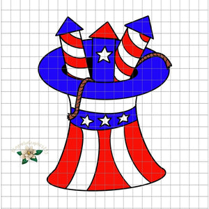 4th of July Firework Hat PNG Printable Design - embroidery-boutique