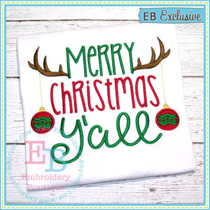 Antlers Christmas Y'all Embroidery Design, Embroidery