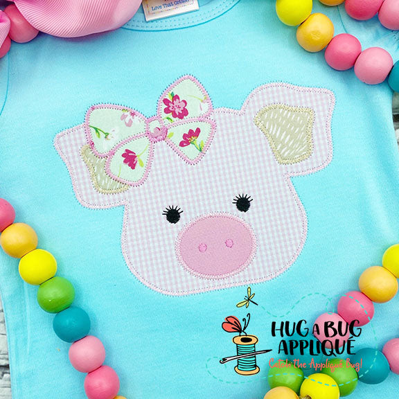 Pig Bow Zig Zag Stitch Applique Design, Applique