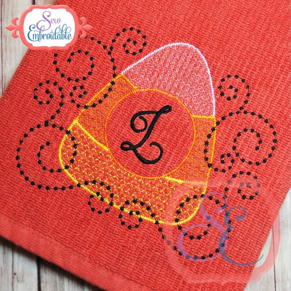 Motif Candy Corn Monogram, Embroidery