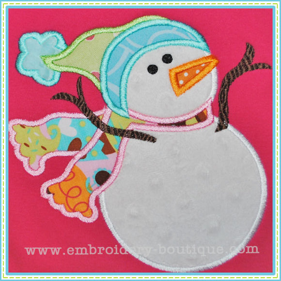 Silly Snowman Applique - embroidery-boutique