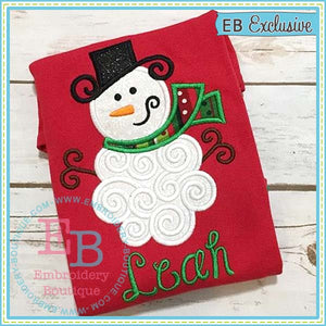 Swirly Snowman Applique - embroidery-boutique