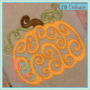 Swirled Pumpkin Embroidery Design, Embroidery