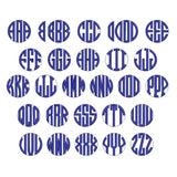 Circle Monogram Embroidery Font, Embroidery Font