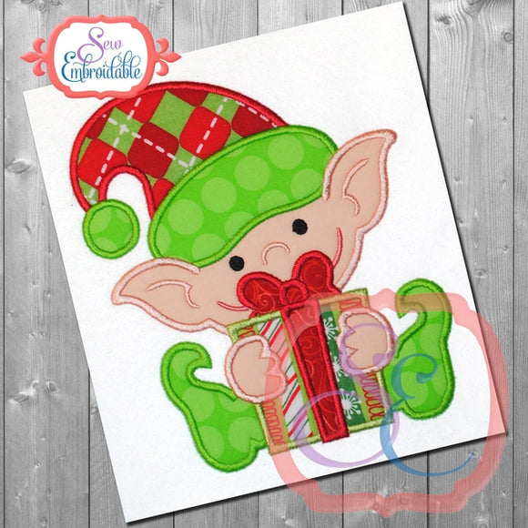 Baby Elf with Gift Applique